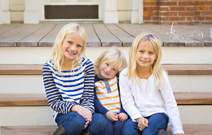 St. Louis Family Photographer - KGriggs Photography - three siblings sitting on steps, Queeny Park, St. Louis, MO