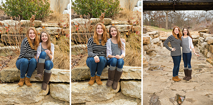 Three photos of sister sitting on rocks | Glendale Family Photographer