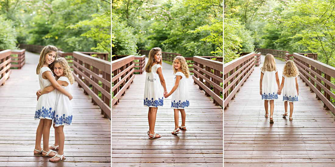 Three photos of sisters on a bridge | St. Louis Family Photos