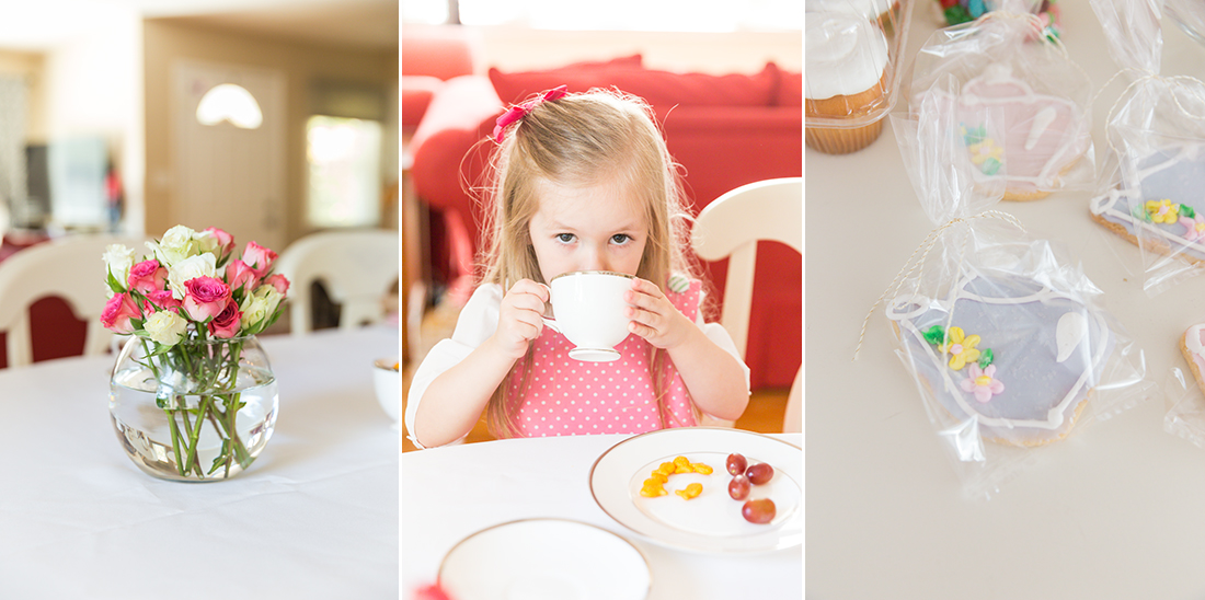 Collage of 3 pictures of little girl's tea party | St. Louis Kids Photography
