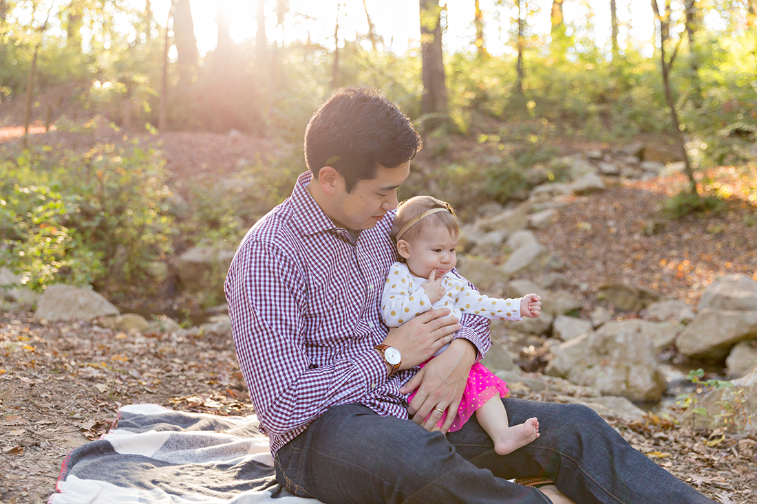 Daddy with his little girl sitting on his lap - Longview Farm Park | St. Louis Photographer