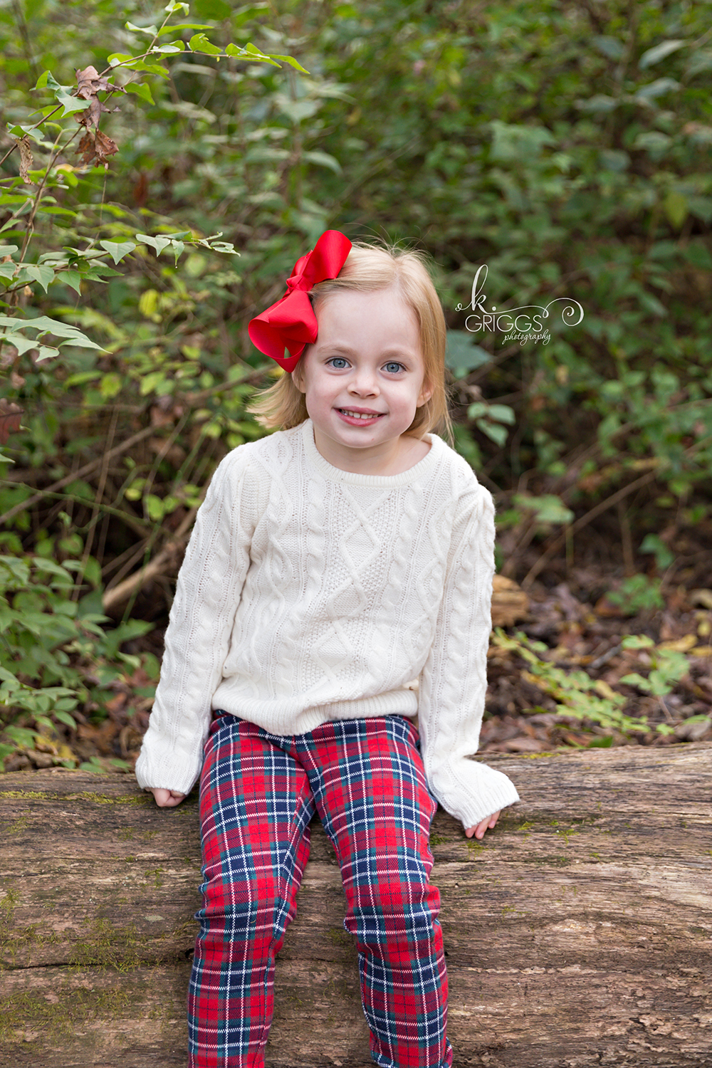 Young girl sitting on log smiling at camera | St. Louis Photographer