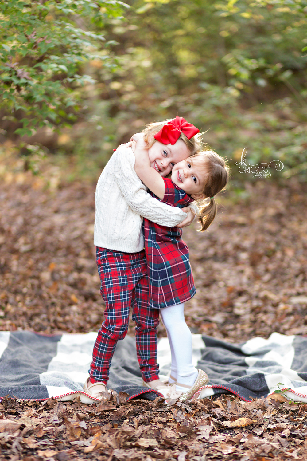Young sisters hugging in a park on fall day | St. Louis Family Photographer