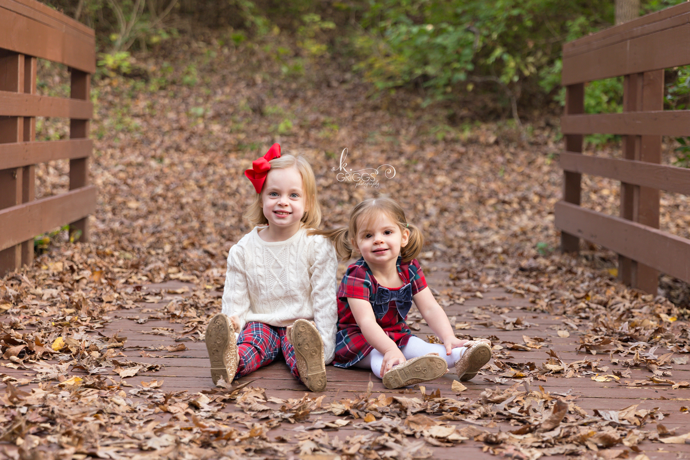 Young sisters sitting on bridge in park | St. Louis Photography