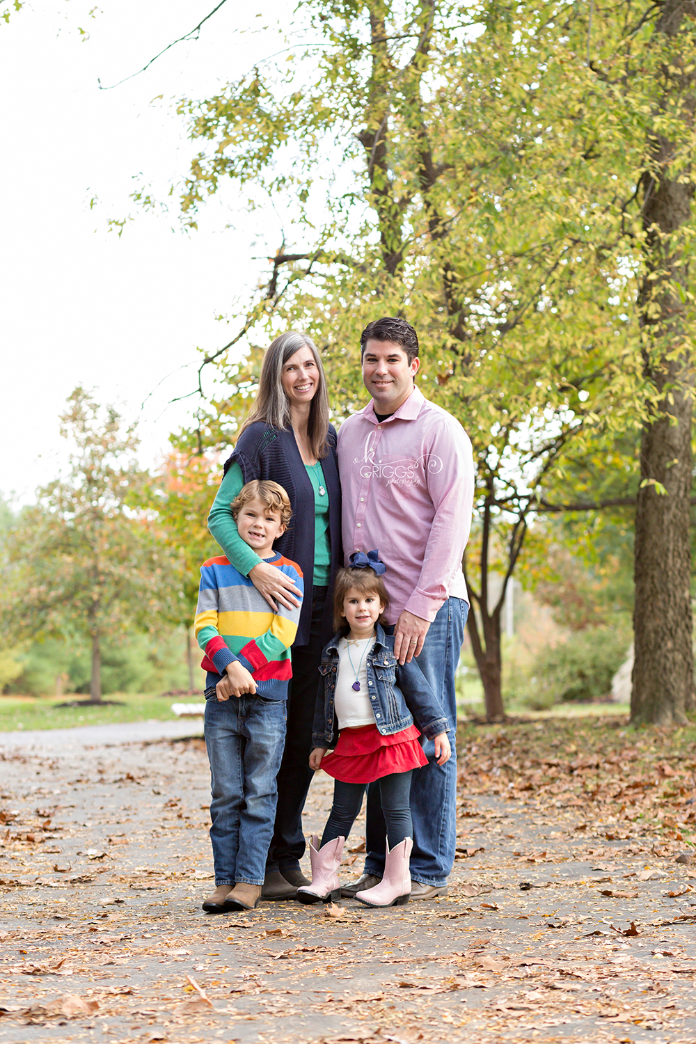 Family of 4 standing in park | St. Louis Photography