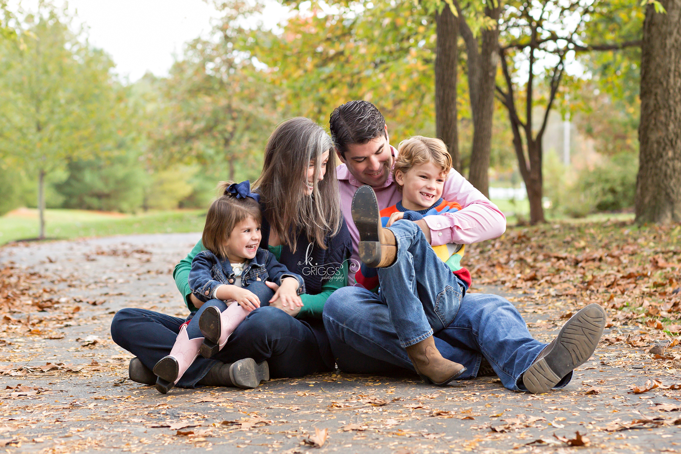 Neighbors sitting on path in park | St. Louis Family Photographer