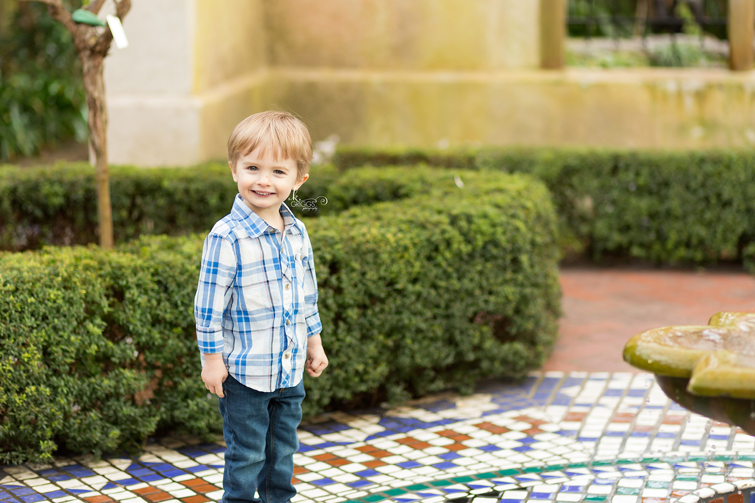 Young boy standing near small pool - St. Louis Children's Photographer